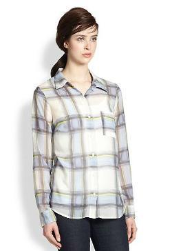 Splendid  - Plaid Sheer Button-Down Shirt