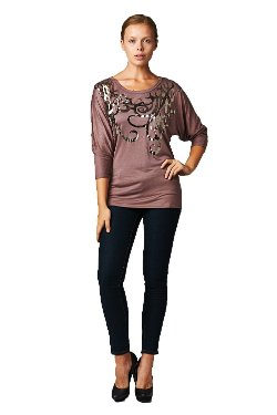 Frumos - Womens Three Quarter Dolman Round Neck Top