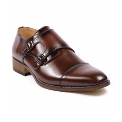 UVS - Double Monk Strap Cap Toe Loafers