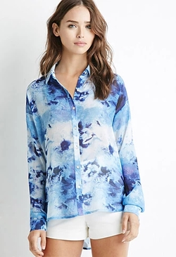 Forever 21 - Abstract Print Chiffon Shirt