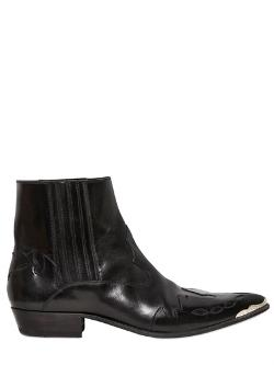 Saint Laurent  - Western Metal Point Leather Boots