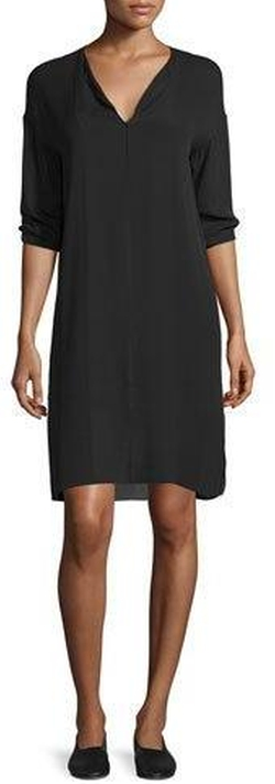 Vince - Split-Neck Pintuck Silk Dress