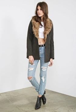 Forever 21 - Faux Fur Collar Coat