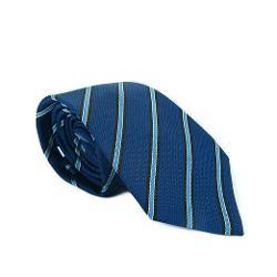 Valentino  - Blue Woven Stripe 100% Silk Men