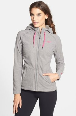 The North Face - Mezzaluna Pink Ribbon Fleece Hoodie Jacket
