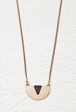 Forever21 - Colorblocked Half-Disc Pendant Necklace