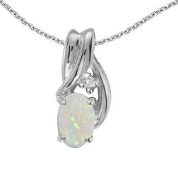Direct-Jewelry  - 14k White Gold Oval Opal And Diamond Pendant