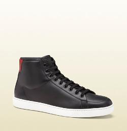 GUCCI - Black Leather and Snakeskin Hi-Top Sneakers