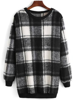 Romwe - Round Neck Plaid Long Sweater