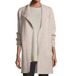 Eileen Fisher  - Boiled Wool Funnel-Neck Coat