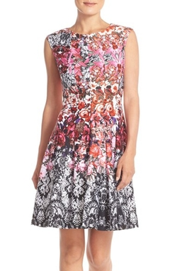 Gabby Skye - Mixed Print Scuba Fit & Flare Dress