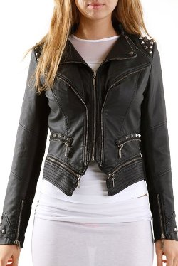 VIV Collection - Studded Faux Leather Jacket