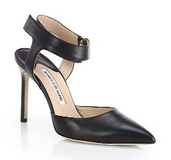 Manolo Blahnik - Ruru Leather Ankle-Strap Pumps