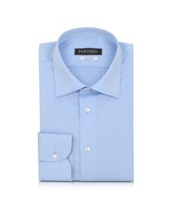 Forzieri - Solid Light Blue Non Iron Cotton Dress Shirt