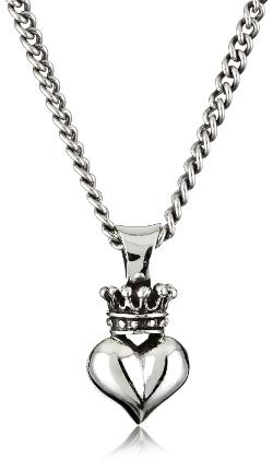 King Baby - Curb Link Chain with 3D Crowned Heart Pendant Necklace