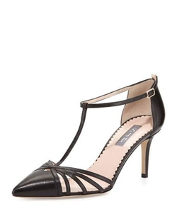 SJP by Sarah Jessica Parker - Carrie Leather T-Strap Pumps