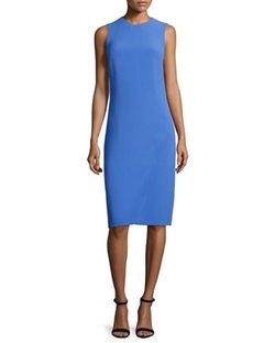 Ralph Lauren - Sleeveless Jewel-Neck Faux-Wrap Dress