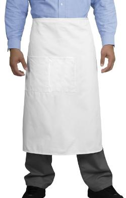 eFuture - White Kitchen Ware Chef Polyester with Center Divide Pocket Half Bistro Apron
