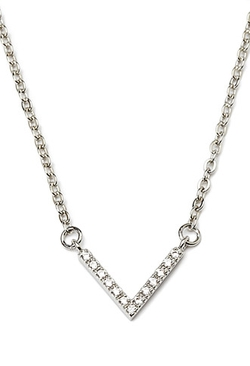 Rhinestoned - V Charm Necklace