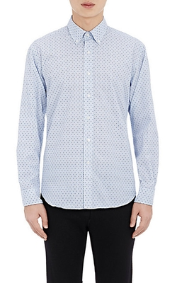 Barneys New York - Micro-Checked & Dotted Shirt