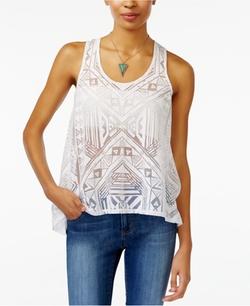 Material Girl  - Geo-Print Sheer Burnout Top