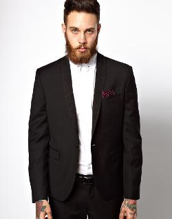Selected  - Tuxedo Jacket With Floral Shawl Collar