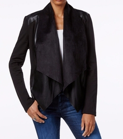 Kut from the Kloth - Faux-Leather-Trim Draped Jacket