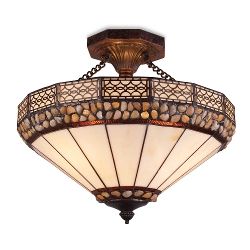 ELK Lighting - Burnished Copper Stone Filigree Glass Lighting