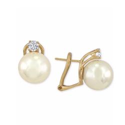 Majorica  - Vermeil Imitation Pearl and Crystal Stud Earrings