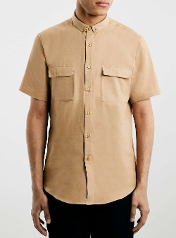 Topman - Sand Military Short Sleeve Smart Shirt
