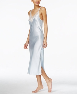 Oscar De La Renta - Lace-Trim Long Satin Nightgown