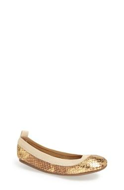 Yosi Samra - Python Embossed Metallic Leather Flat