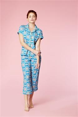 Bedhead Pajamas - Blue Medallions Stretch Short Sleeve Pajamas