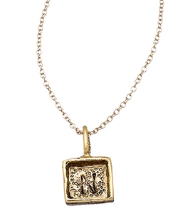 Diana Warner  - Square Initial Charm Pendant Necklace