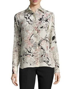 Valentino - Floral Long-Sleeve Silk Blouse