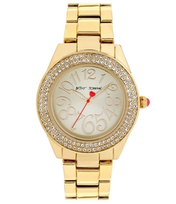 Betsey Johnson - Boxed Double Row Crystal Gold Bracelet Watch