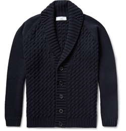 Ami - Shawl-Collar Cable-Knit Merino Wool Cardigan