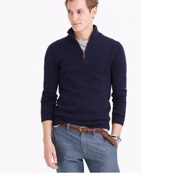J Crew - Slim Cotton-Cashmere Half-Zip Sweater