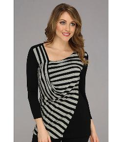 Vince Camuto  - 3/4 Sleeve Side Drape Stripe Top
