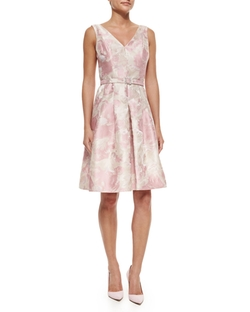 Rickie Freeman for Teri Jon  - Floral Jacquard Belted Dress