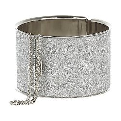 River Island - Silver Tone Glitter Chain Detail Bangle