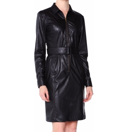 Tomas Maier - Faux-Leather Zip-Front Shirtdress