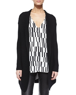Vince  - Ribbed Open-Front Knit Cardigan