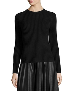 Neiman Marcus - Long-Sleeve Ribbed Knit Sweater