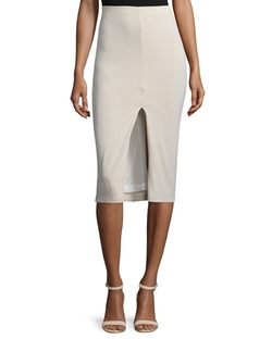Alice + Olivia  - Spiga Ponte Front-Slit Pencil Skirt