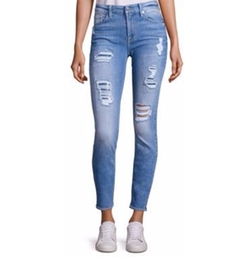 7 For All Mankind - Peek-A-Boo Sequin Distressed Skinny Ankle Jeans