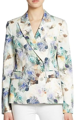 Rebecca Taylor  - Double-Breasted Floral-Print Blazer