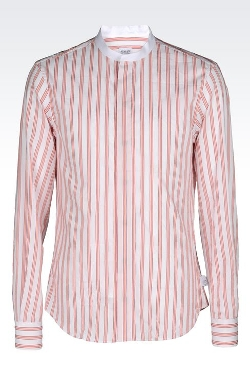 Armani Collezioni - Striped Cotton Blend Mandarin Shirt