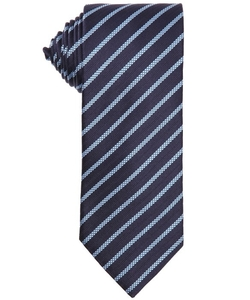 Ermenigildo Zegna - Dark And Light Blue Diagonally Striped Silk Tie