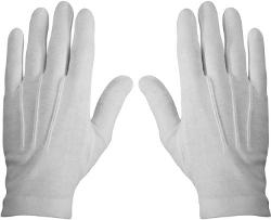 Private Island  - White Stitched Cotton Gloves-Pair